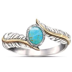 3/$30 Turquoise feather Silver Gold Boho ring